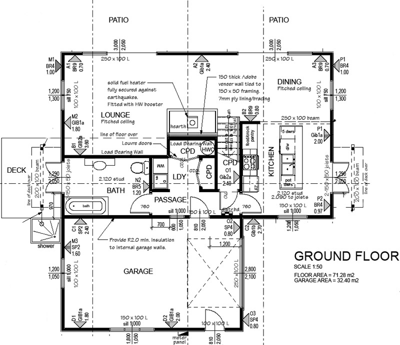 Kanuka 3BR - Ground Level, Eco House Plan