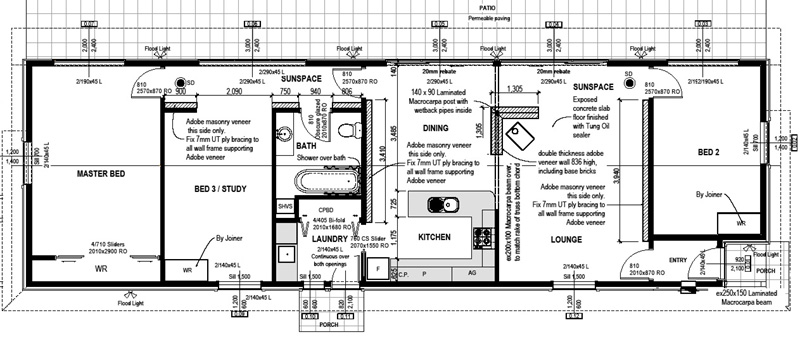 Solabode Eco House MK1 3 Bedroom - Passive Solar Design House Plans