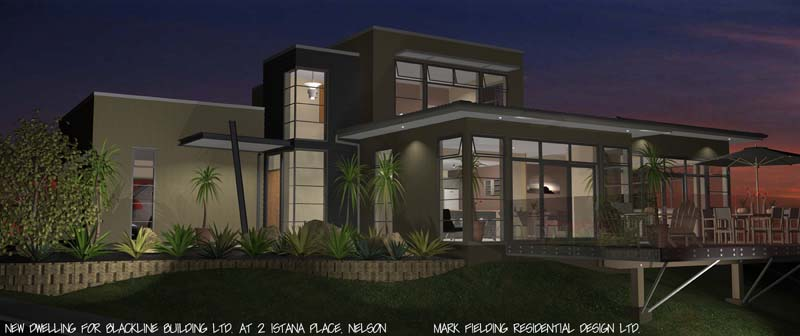 Night time view of Blackline Builders house
