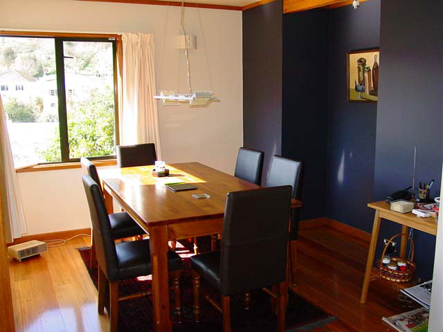 Dining Room with recycled Rimu timber overlay flooring