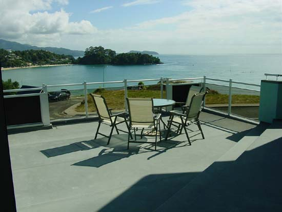 View of deck with kaiteriteri beach in background